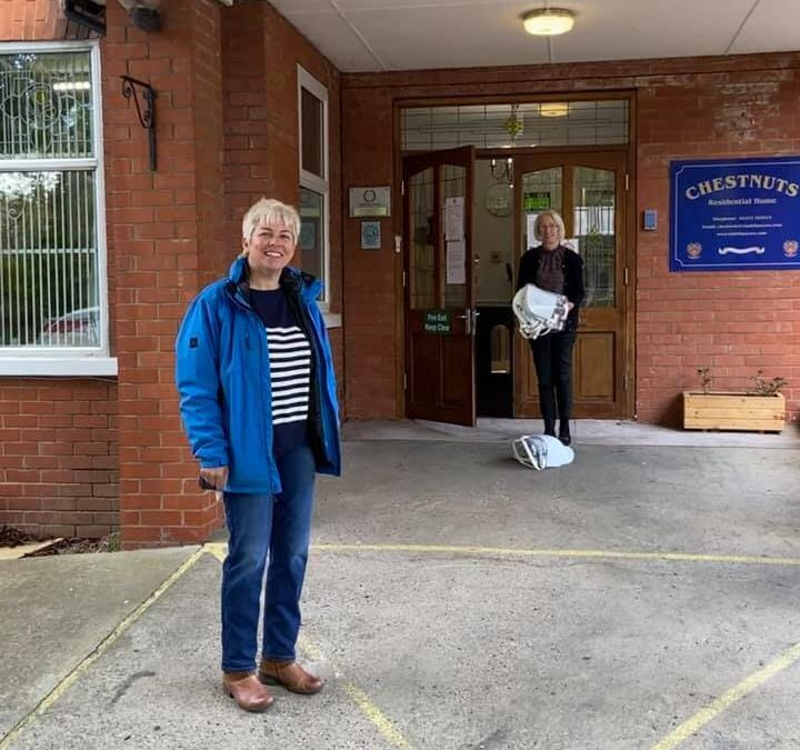 Local MP delivers protective visors to Chestnuts Care Centre