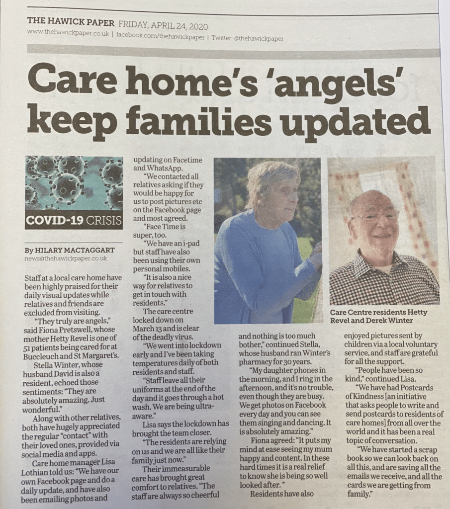 Care Home Angels newspaper